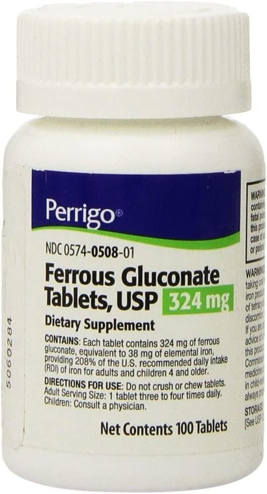 Ferrous Gluconate Green Tablets 324mg Pack NEW before Excellence selling 100ct 3