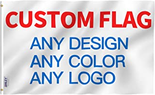 Anley Double Sided Custom Flag 3x5 Ft for Outdoors - Print Your Own Logo/Design/Words - Vivid Color, Canvas Header and Double Stitched - Customized Two Side Flags Banners with Brass Grommets 3 X 5 Ft