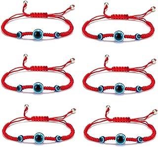 5-6 Pcs Evil Eye String Kabbalah Bracelets Hamsa Hand Hand-Woven Adjustable Red Rope Cord Thread Braided Bracelet Fatima H...