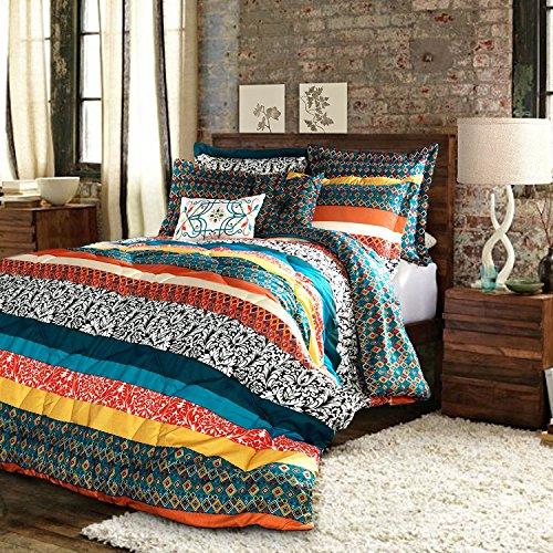 Lush Decor Boho Striped Colorful Pattern Bohemian Style Reversible 5 Piece Comforter Bedding Set - Turquoise/Tangerine, Twin XL, Turquoise & Tangerine