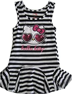 987db068df88 Hello Kitty Little Girls Black White Striped Applique Gown 4-6X