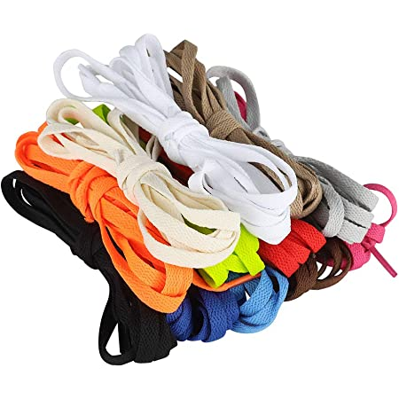 nuoshen 12 Pairs Flat Colored Shoelaces, 120 cm / 47.24 inch Durable Shoestrings Replacement Shoe Laces for Sneakers Sport Shoes Boots(random color)