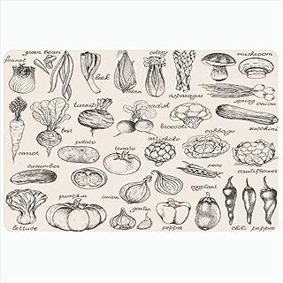 Ahawoso Indoor Bath Rug for Bathroom Non Slip Mats 16x24 Inch Green Sketch Collection Handdrawn Vegetables Vintage Food Drink Mushroom Doodle Tomato Organic Onion Bathing Shower Doormat Rubber Mat