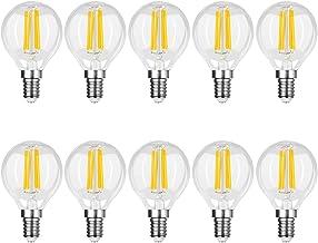 Yaeer 10 Pack E14 LED Bulbs Vintage Golf Ball Bulb 4W,Small Edison Screw Retrofit Clear Filament Light Bulbs,Warm White 2700K