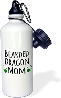 3dRose wb_154045_1 Bearded Dragon Mom-for female lizard and reptile enthusiasts and girl pet owners Green footprints-Sports Water Bottle, 21 oz, White