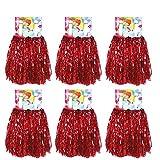 Creatiees 1 Docena Prima Animadoras Pompones, 12pz Mano Flores Animadora Pompones para Deportes Aclamaciones Pelota Baile Fancy Vestir Noche Fiesta (Rojo)