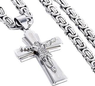 JewelBeauty Mens Stainless Steel Gold & Silver Tone Jesus Christ Cross Crucifix Pendant Necklace 5mm Byzantine Chain