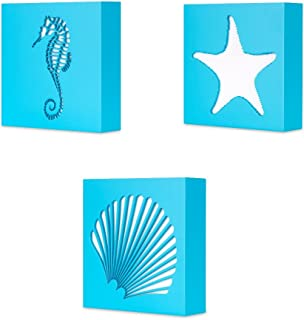 KAUZA 3 Panels Seashell Decor Mordern Abstract Painting Conch Coastal Artwork Pictures Framed Paintings Wall Art for Living Room Bedroom Home Decor 5.5 x 5.5 inch x 3pcs