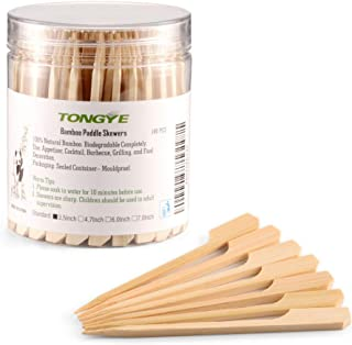 TONGYE Bamboo Paddle Skewers 3.5 inch with Clear Cylinder, Food Grade Cocktail Picks, Barbecue Stick. Decoration for Party Food, Appetizer, Dessert, Fruit, Sausage, Burger, Kebab. (180 PCS)