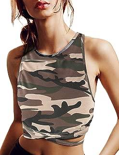 HaoDuoYi Womens Jersey Training Sports Crop Top Backless Tank T Shirt