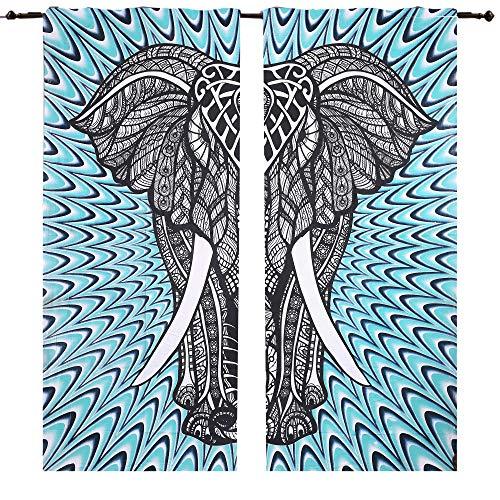 Big Elephant Doona Lot de 2 panneaux de rideau, 208,3 x 208,3 cm, fenêtre Rideaux drapé Rideau de chambre balcon Boho Ensemble ethnique fenêtre traitements et ensemble de panneaux hippie Tapisserie Décor Rideau de porte Rideau de fenêtre