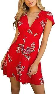 Cortadas con Cuello En ImpresióN De Flores Boho Mini Verano Lady Beach Summer Sundress Maxi Vestido