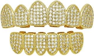 Iced Out Hip Hop Mens Brass CZ Diamond Gold Teeth Grillz Top Bottom 14K 18K Grill Sets + Molding Bar