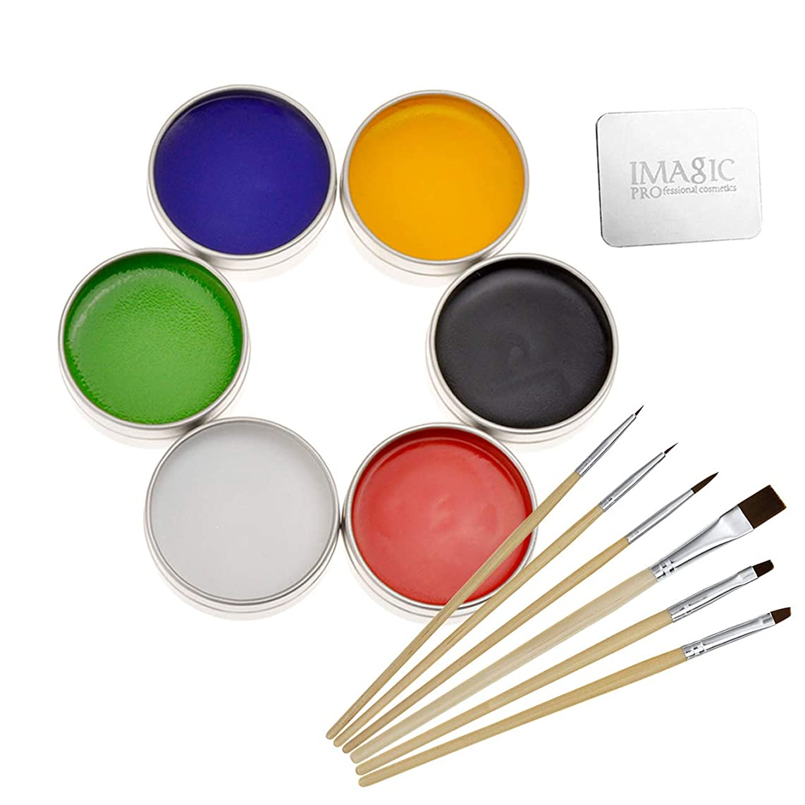 CCbeauty Professional Face Body Paint Art Makeup Set Halloween Party X'Mas (Painting Set with Palette Ring and Brush)