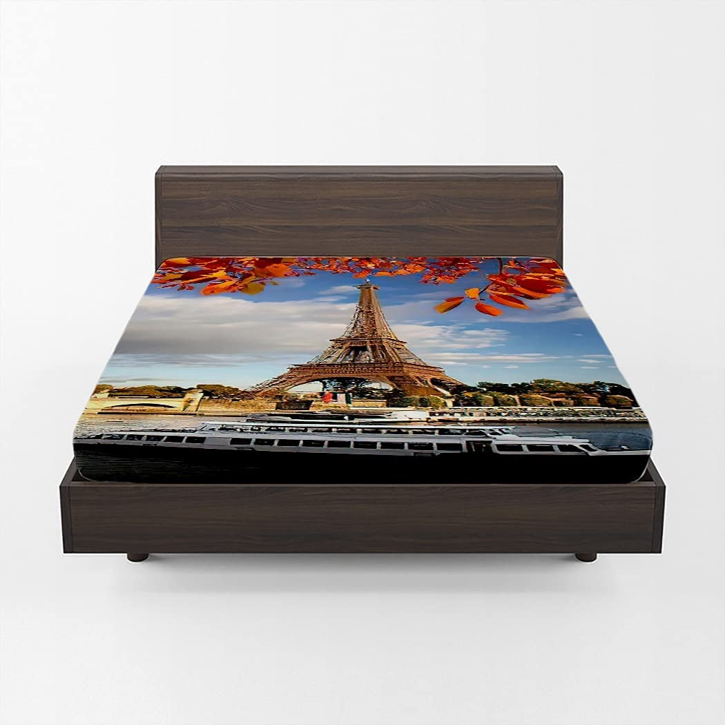 Huipaya Bridge Skyline Fitted Sheet lowest price Tower NEW before selling Leaves Autumn Eiffel