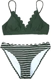 CUPSHE Women's Scalloped Trim in The Moment Bikini