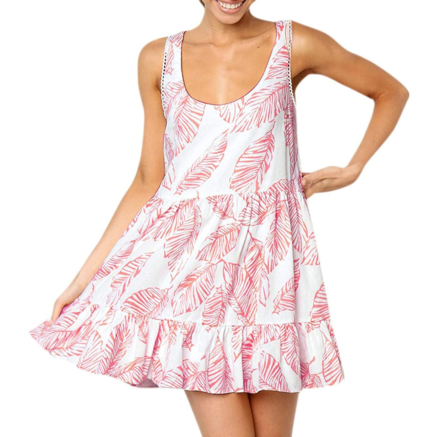 Franterd Women Mini Dress Summer Bohemian Leaves Off Shoulder Casual Sleeveless Vest Dress Beach Cover up Sundress