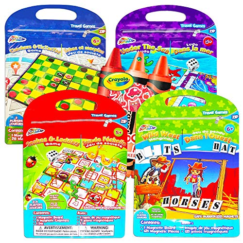 Magnetic Travel Games for Kids Toddlers Set -- 4 Magnetic Games for Travel in Car or Airplane with Reward Stickers (Road Trips Series)