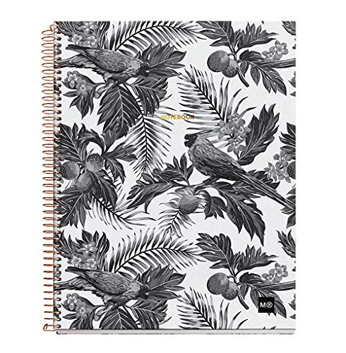 "Miquelrius Large 4 Subject Wirebound Notebook - Hardcover, (120 Sheets-240 Pages, Lined), 8.5"" x 11"" (Tropical B&W)"