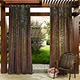 Forest Outdoor Window Curtains Porch Balcony Pergola Lanai Tent Gazebo Window 84'x96' Redwood Forest in California USA Nature Outdoors Landscape Woods Park Redwood Green Yellow