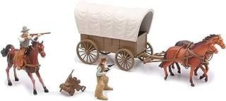 NewRay Big Country Western Cowboy Set with Covered Wagon, Horses, Cowboys Play Set