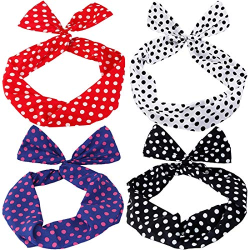 Haarband Polka Dots - ZSWQ 4PCS Twist Bow Wired Stirnbänder,Haarband Draht Stirnband Haarschmuck Geschenk Gift für Frauen Mädchen (4-color)