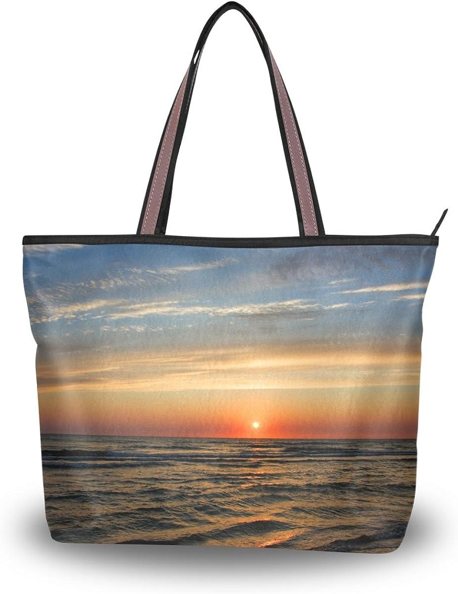 JSTEL Women Large Tote Top Handle Shoulder Bags Colorful Sunset Over The Sea Patern Ladies Handbag