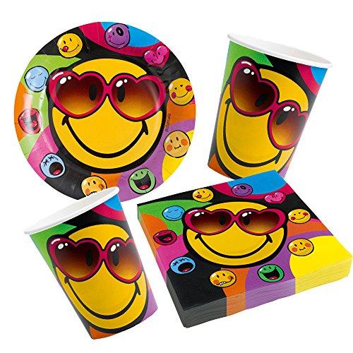 amscan Smiley Express Yourself - 36-teiliges Party-Set Teller Becher Servietten