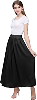 Women's Long A Line High Elastic Waist Swing Chiffon Pleated Midi Skirt