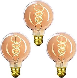 Bombilla vintage Edison de Massway, LED, bombilla vintage E27 G80, 4 W, blanco cálido, filamento LED, ideal para nostalgia y iluminación retro en casa, cafetería, bar, 3 unidades