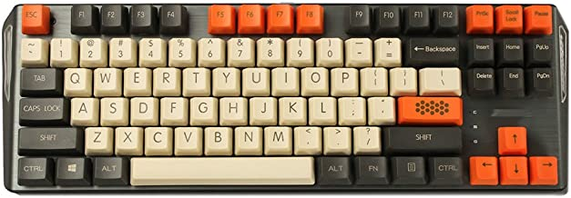 YMDK Carbon 61 87 104 Top Print Keyset Thick PBT OEM Profile Keycaps for MX Mechanical Keyboard (Only Keycap) (87)