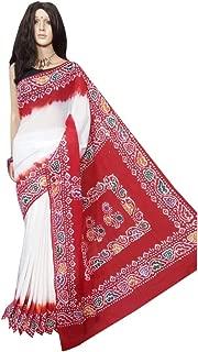 Red & White Beautiful Hand Printed Batik Cotton Saree Casual Sari Blouse Designer Women Indian Ethnic From West bengal 144a