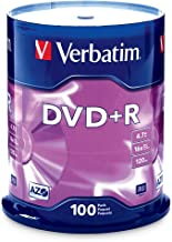 Verbatim DVD+R 4.7GB 16x AZO Recordable Media Disc – 100 Disc Spindle (FFP) –..