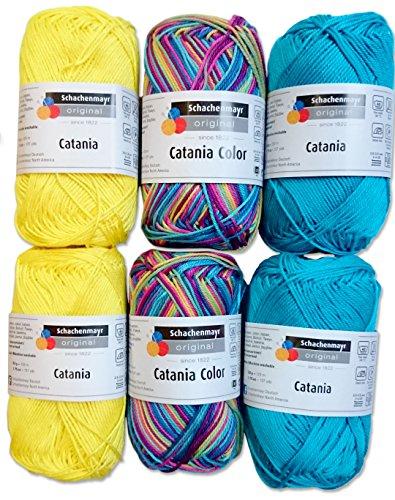 Schachenmayr 4X Catania und 2X Catania Color Set 1 (Gelb, Blau, Regenbogen) 6x50 Gr, 100% Baumwolle