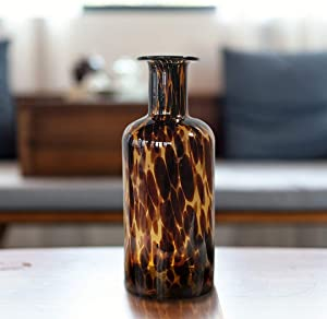 Handmade Leopard Print Glass Vase, Centerpiece Decorative Flower Vase, Stylish for Home Decor, 11.81 inch/30cm Tall for Living Room Dining Tabletop Statement Office Decoration(T-Leopard)
