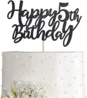 5 Black Glitter Happy 5th Birthday Cake Topper, Birthday Party Cake Topper Decorations, Supplies