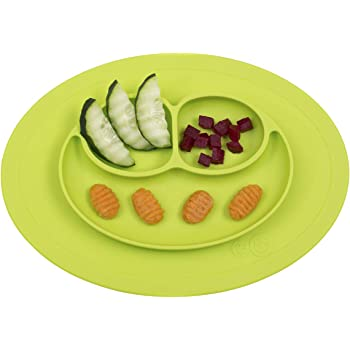 ezpz Mini Mat (Lime) - 100% Silicone Suction Plate with Built-in Placemat for Infants + Toddlers - First Foods + Self-Feeding - Comes with a Reusable Travel Bag, One Size