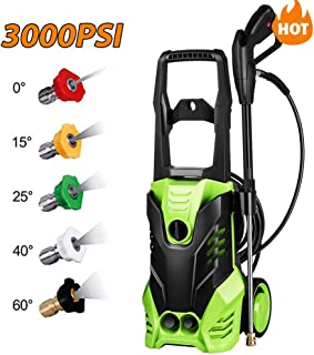 Homdox 3000 PSI Pressure Washer, Electric 1800W High Pressure Power Washer Machine with Power Hose Gun Turbo Wand 5 Interchangeable Nozzles