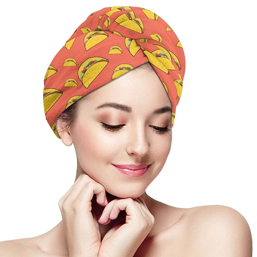 些細脈拍延期するLet's Taco Microfiber Hair Drying Towel with Button Ultra Absorbent Twist Hair Turban Quick Drying Cap Hair Wrap