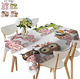 UHOO2018 Square/Rectangle Indoor and Outdoor Tablecloth Cartoon Babies in hat imals Restaurant Party,54 x129inch.