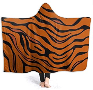 Hooded Blanket Soft Cozy Sherpa Flannel School Blanket, Adults Men Women Throw Blanket for Bedroom Living Rooms Sofa Couch - Tiger Stripe Animal Throw Wearable Cuddle
