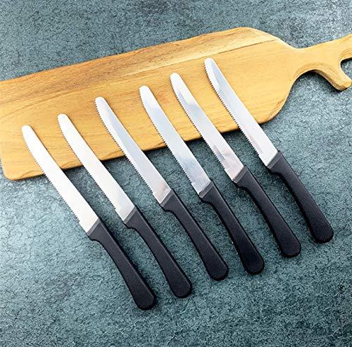 Cuchillos Cuchillo de bistec de acero inoxidable Cena de Navidad Manija negra Cubiertos Cuchillo Conjunto Juego de vajillas Set Tiro en vivo cocina (Color : 6pcs)