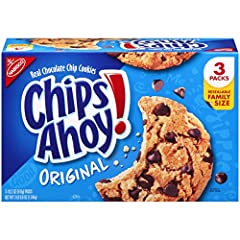 Chips Ahoy! delivers the sweet, delicious cookie taste that America has loved since 1963. These crowd-pleasing crunchy cookies come crammed with real chocolate chips to satisfy any sweet tooth. A resealable pack with easy-pull tab keeps cookies fresh...