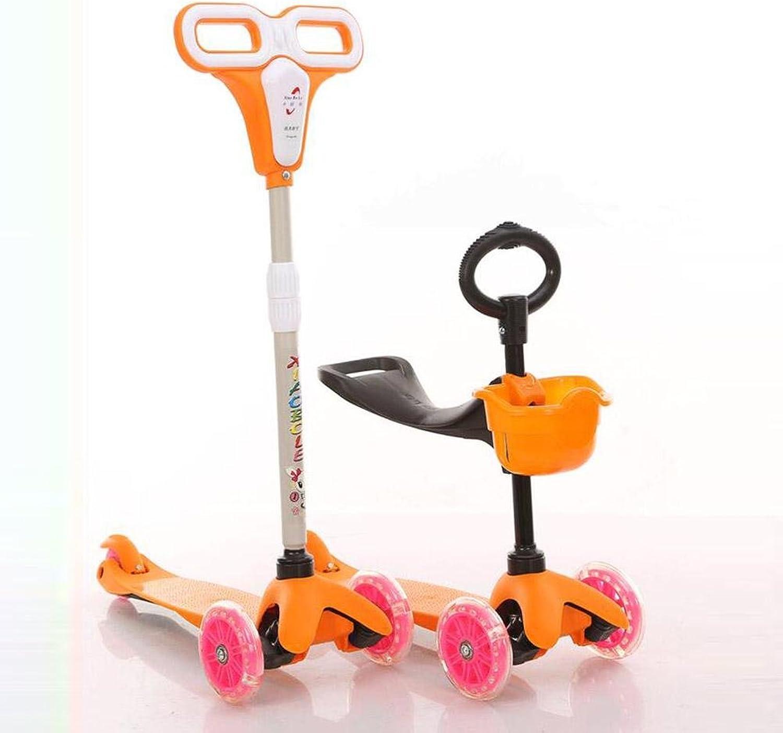 HJXJXJX Zweifarbig optional, Kunststoff, Drei-in-Ein-Kinder-Multifunktions-Roller