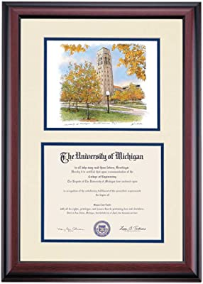 36cf0f11bb0 Campus Linens Michigan Wolverines Diploma Frame Ivory Blue Matting  Watercolor