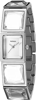 Wristband Rectangle Diamond Dial Women Fashion Quartz Watch with Steel Band,Colour Name:Wa1215f (Color : Wa1215d)