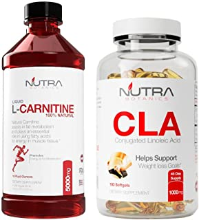 Nutra Botanics High Strength Liquid L-Carnitine 5000 Mg, 16 Oz (473 ML) with CLA to Support Weight Loss Goals, Bundle