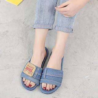 Slippers women wear summer denim slippers flat heel outer beach slippers women-Light blue_36