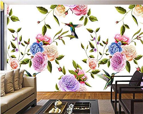 Mznm Classic 3D Wallpaper met bloemen en vogels, eenvoudig te monteren 350 x 250 cm.
