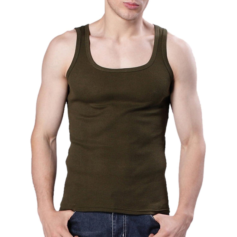 MJARTORIA メンズ 綿製 快適 純色 シンプル 無地 スリム 部屋着 スポーツ用 タンクトップ (XL, アーミーグリーン)
